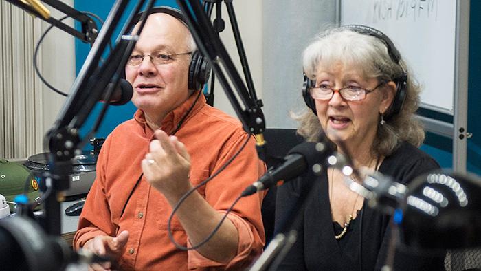 Jeff Hoyt & Susan McCabe broadcasting live from VoV's Storefront Studio