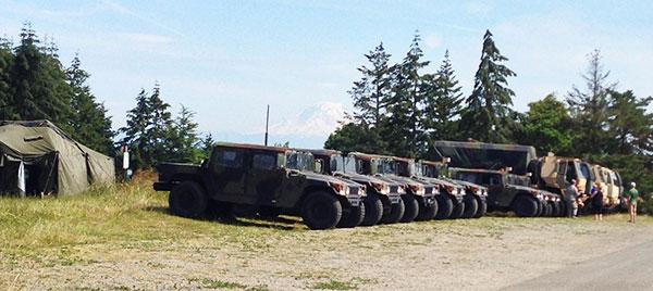 WA National Guard encampment at Sunrise Ridge